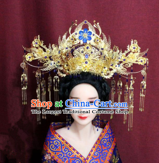 Chinese Ancient Ming Dynasty Empress Hair Accessories Cloisonne Phoenix Coronet Hairpins for Women