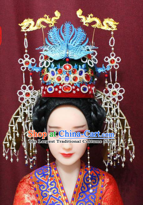 Chinese Traditional Handmade Hair Accessories Ancient Ming Dynasty Queen Phoenix Coronet Hairpins for Women
