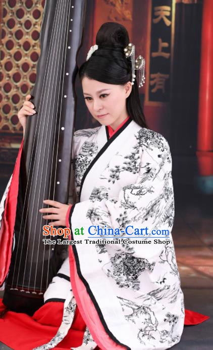 Chinese Ancient Han Dynasty Palace Lady Hanfu Dress Rich Women Embroidered Costumes