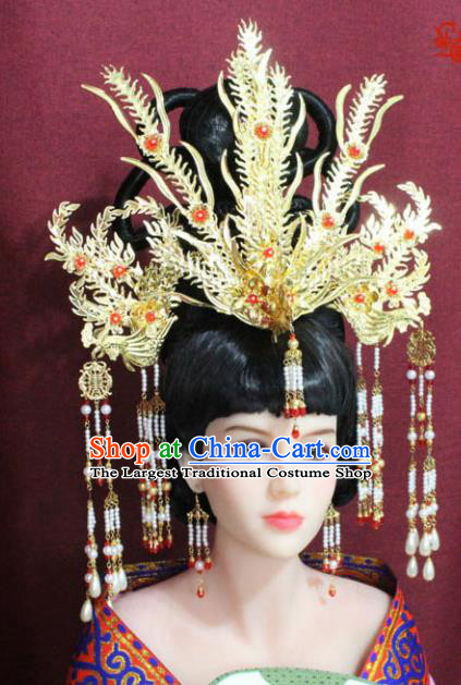 Chinese Ancient Palace Hair Accessories Handmade Tang Dynasty Queen Phoenix Coronet Hairpins for Women