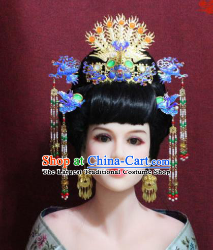 Chinese Handmade Imperial Consort Blueing Phoenix Coronet Hairpins Ancient Peri Hair Accessories for Women