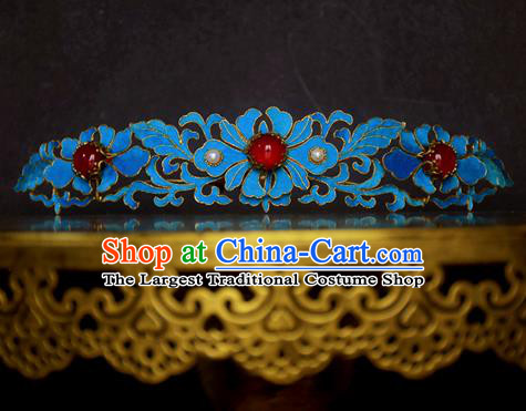Chinese Handmade Princess Hanfu Hairpins Blueing Chrysanthemum Hair Comb Ancient Hair Accessories for Women