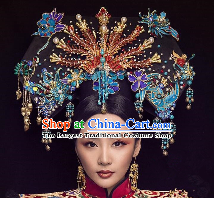 Chinese Handmade Qing Dynasty Queen Hairpins Ancient Phoenix Coronet Hair Accessories for Women
