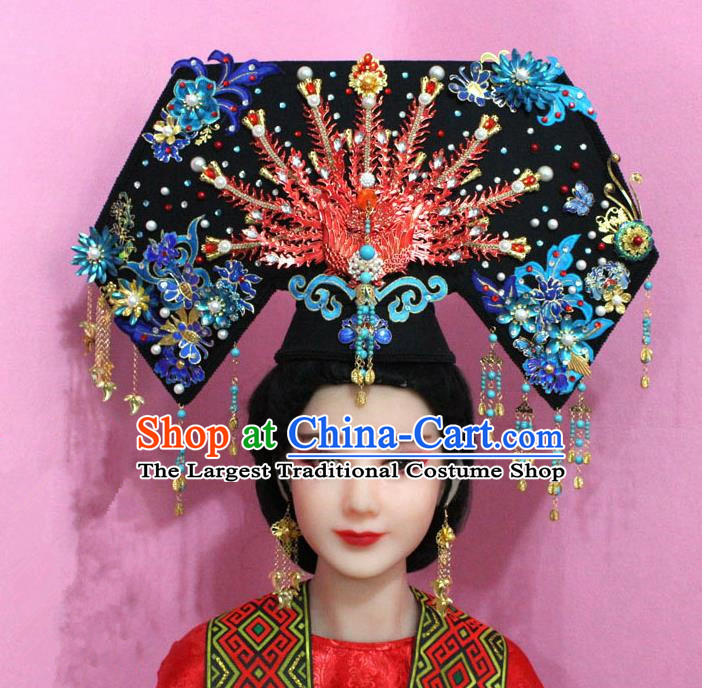 Chinese Handmade Qing Dynasty Queen Hairpins Ancient Blueing Phoenix Coronet Hair Accessories for Women