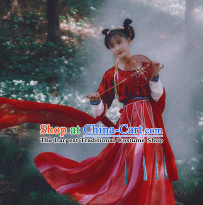 Chinese Ancient Red Hanfu Dress Tang Dynasty Nobility Lady Embroidered Costumes for Women