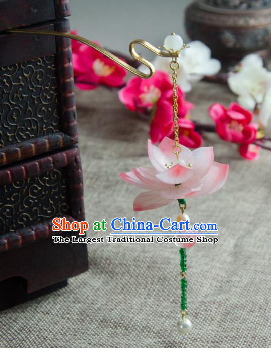 Chinese Ancient Hair Accessories Hanfu Handmade Red Lotus Hairpins for Women