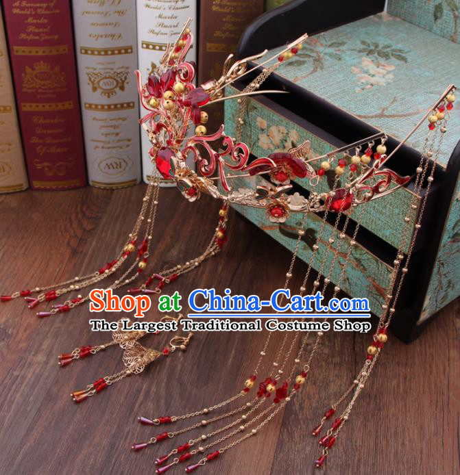 Chinese Ancient Bride Hair Accessories XiuHe Suit Red Phoenix Coronet Hanfu Handmade Hairpins for Women