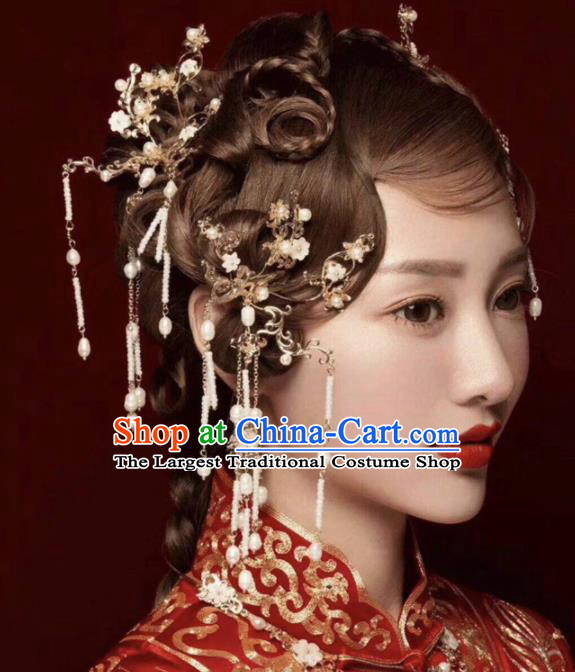 Chinese Ancient Bride Hair Accessories XiuHe Suit Hanfu Handmade Hairpins Complete Set for Women