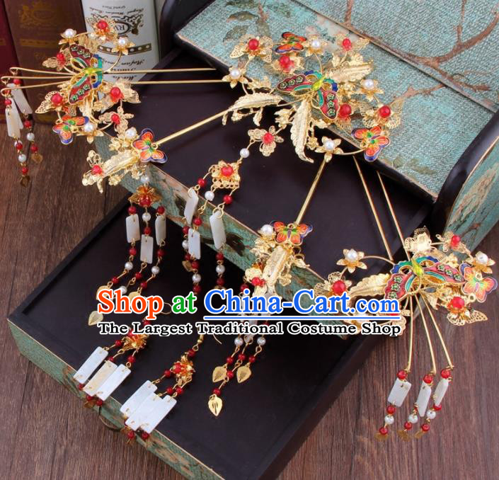 Chinese Ancient Bride Cloisonne Butterfly Hair Clip XiuHe Suit Hair Accessories Hanfu Handmade Hairpins for Women