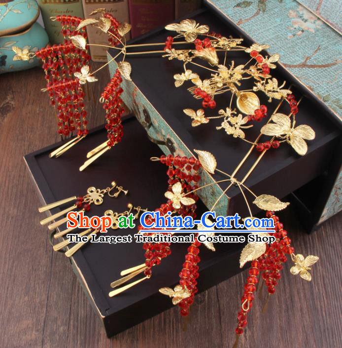 Chinese Handmade Ancient XiuHe Suit Hair Accessories Bride Hair Clips Hairpins for Women