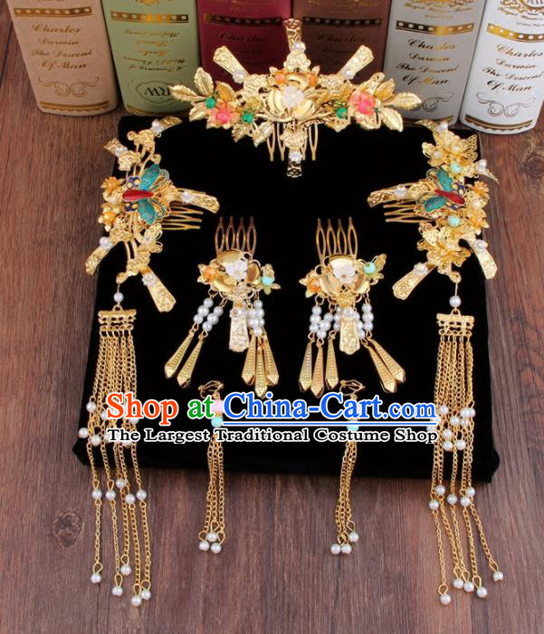 Chinese Ancient XiuHe Suit Hair Accessories Bride Handmade Hair Clips Hairpins for Women
