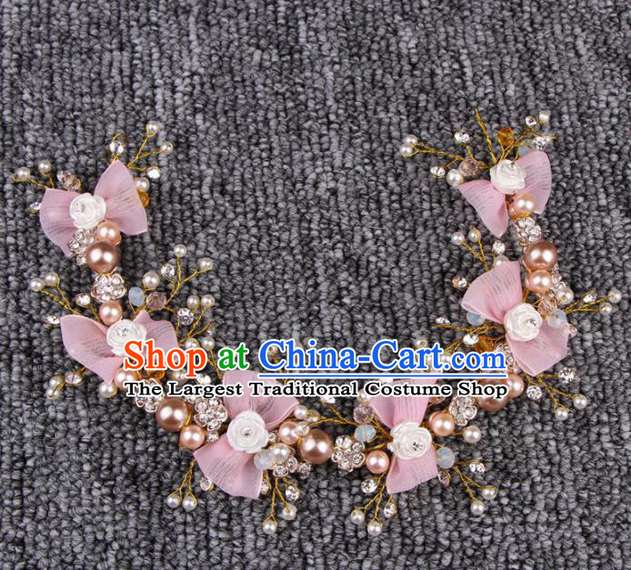 Top Grade Bride Hair Accessories Wedding Pink Bowknot Hair Clasp for Women