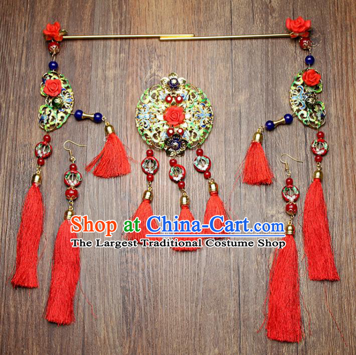 Chinese Ancient XiuHe Suit Bride Handmade Red Tassel Hairpins Hair Accessories Complete Set for Women