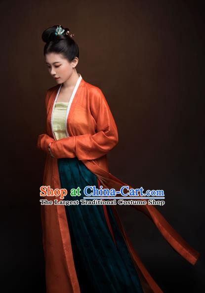 Top Grade Chinese Ancient Song Dynasty Young Lady Hanfu Dress Orange Clothing for Women
