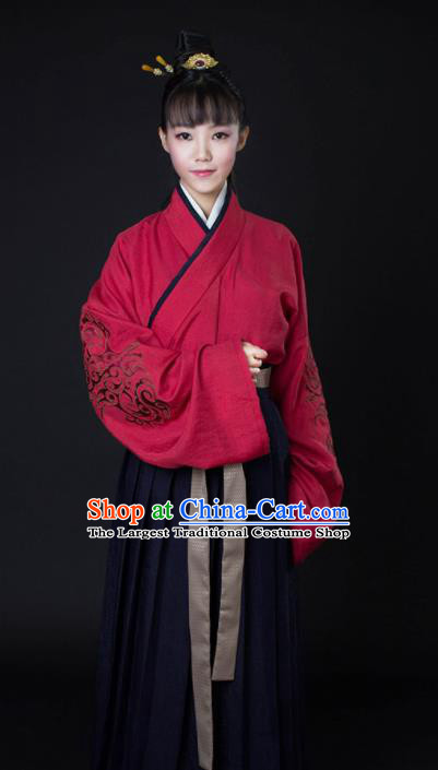 Top Grade Chinese Ancient Young Lady Costumes Han Dynasty Swordswoman Hanfu Dress for Women