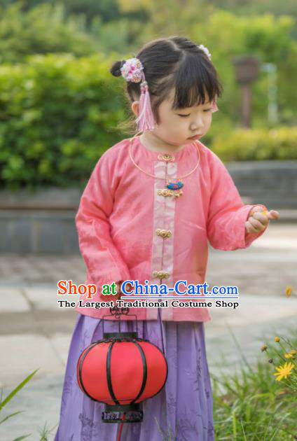 Traditional Chinese Ancient Costumes Pink Blouse and Purple Skirt Ming Dynasty Princess Hanfu Dress for Kids