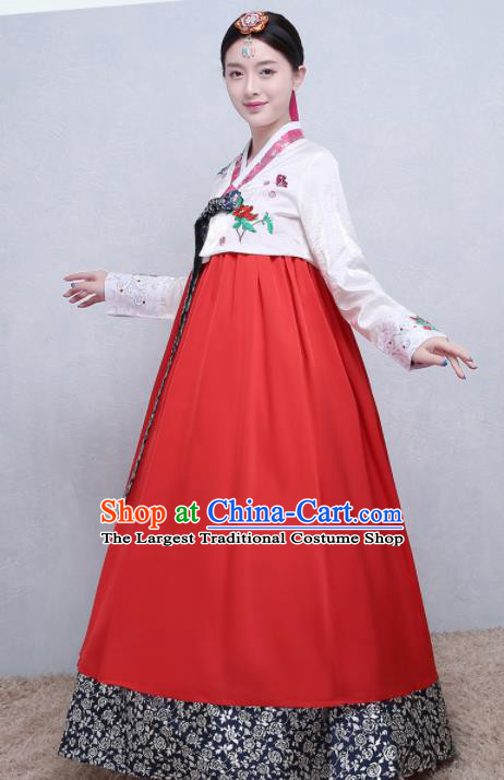 Asian Korean Traditional Costumes Korean Palace Hanbok Embroidered White Blouse and Red Skirt for Women