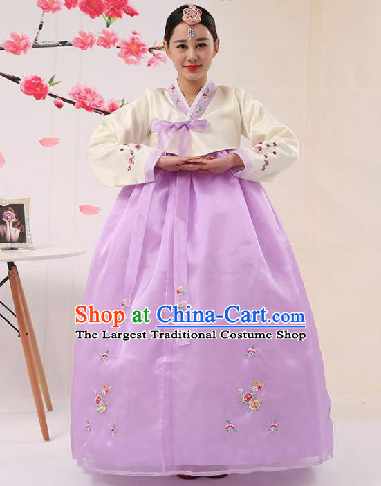 Korean Traditional Costumes Asian Korean Palace Hanbok Bride Embroidered Beige Blouse and Purple Skirt for Women
