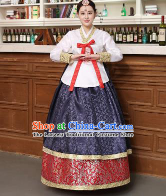 Korean Traditional Costumes Asian Korean Hanbok Palace Bride Embroidered White Blouse and Navy Skirt for Women