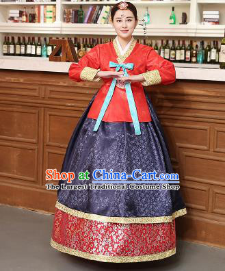 Korean Traditional Costumes Asian Korean Hanbok Palace Bride Embroidered Red Blouse and Navy Skirt for Women