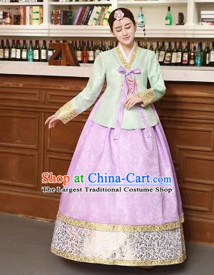 Korean Traditional Costumes Asian Korean Hanbok Palace Bride Embroidered Green Blouse and Lilac Skirt for Women
