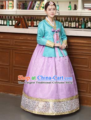 Korean Traditional Costumes Asian Korean Hanbok Palace Bride Embroidered Blue Blouse and Lilac Skirt for Women
