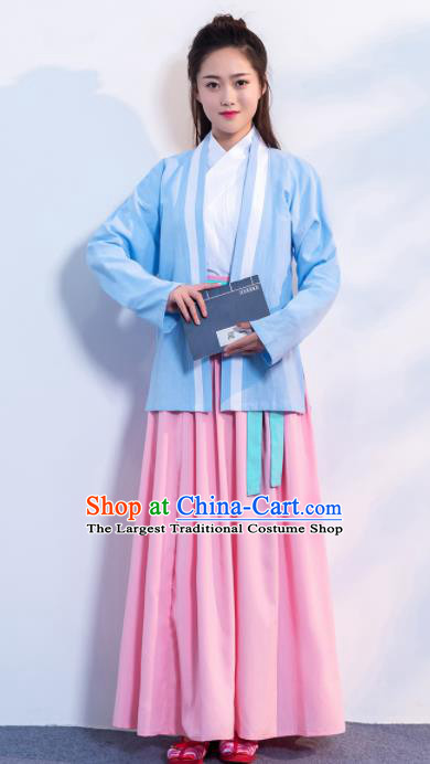 Traditional Chinese Ancient Hanfu Dress Song Dynasty Female Scholar Costumes for Women