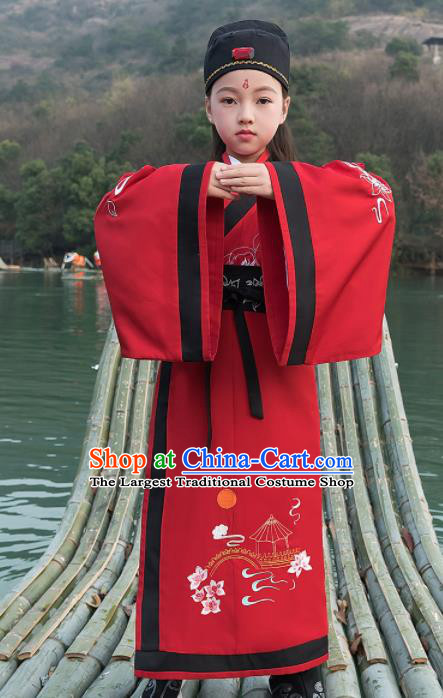 Traditional Chinese Ancient Scholar Costumes Han Dynasty Minister Red Embroidered Robe for Kids