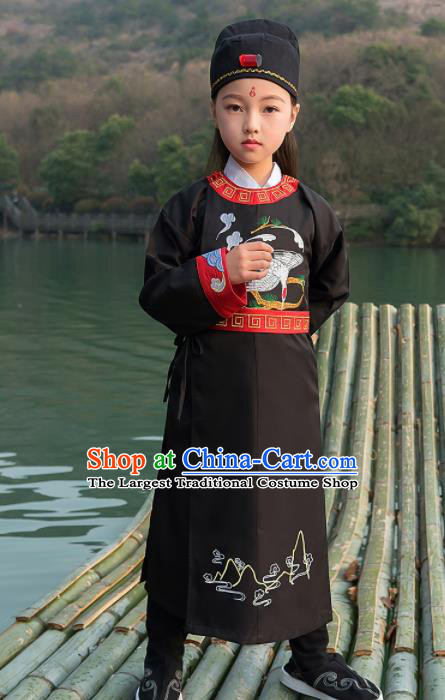 Traditional Chinese Ancient Scholar Costumes Tang Dynasty Swordsman Black Embroidered Robe for Kids