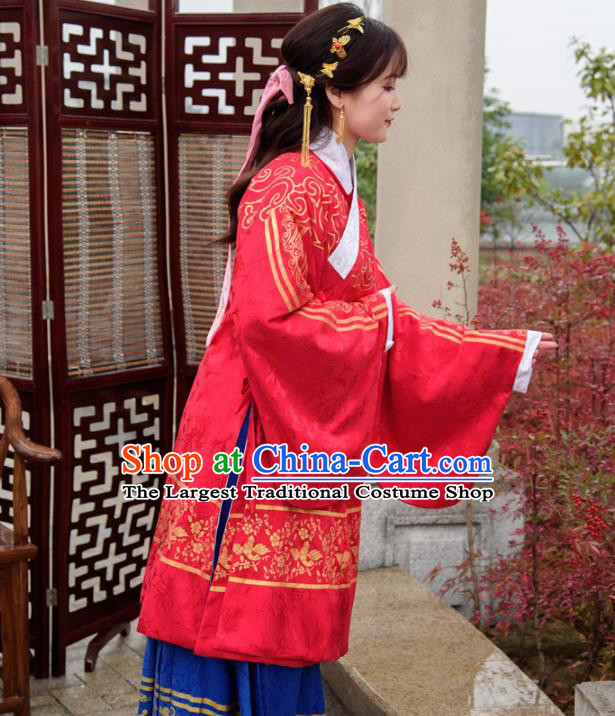 Traditional Chinese Ancient Ming Dynasty Palace Princess Costumes Red Cloak and Blue Skirt for Women