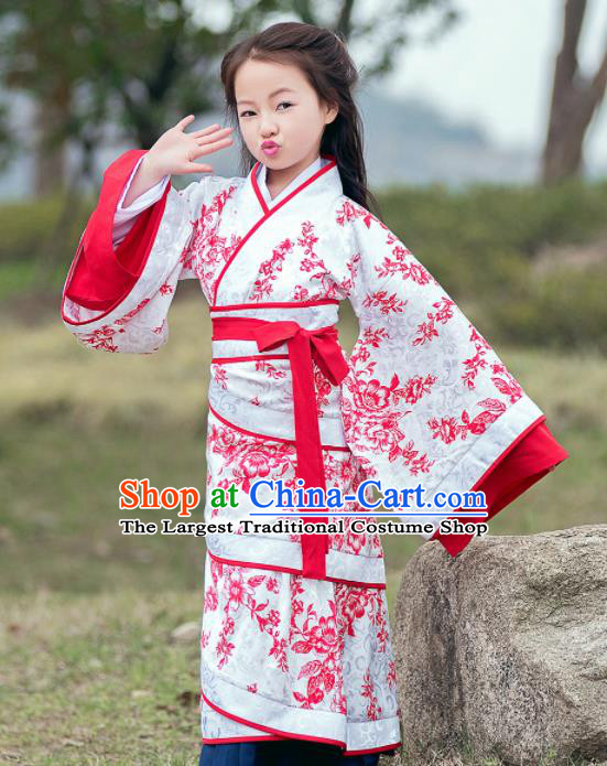 Traditional Chinese Ancient Han Dynasty Princess Costume Red Curving-front Robe for Kids