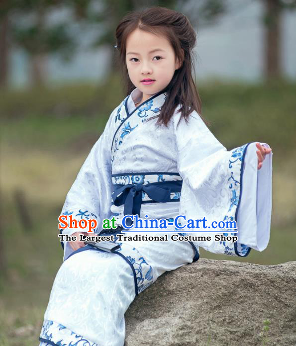 Traditional Chinese Ancient Han Dynasty Princess Costume White Curving-front Robe for Kids