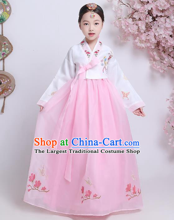 Asian Korean Traditional Costumes Korean Hanbok White Blouse and Pink Skirt for Kids