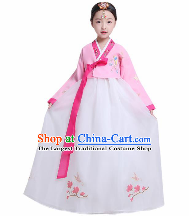 Asian Korean Traditional Costumes Korean Hanbok Pink Blouse and White Skirt for Kids