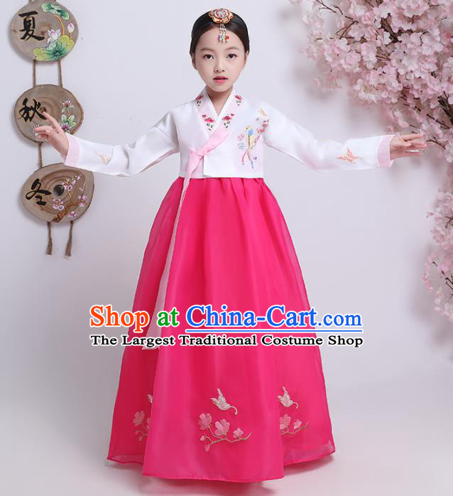 Asian Korean Traditional Costumes Korean Hanbok White Blouse and Rosy Skirt for Kids