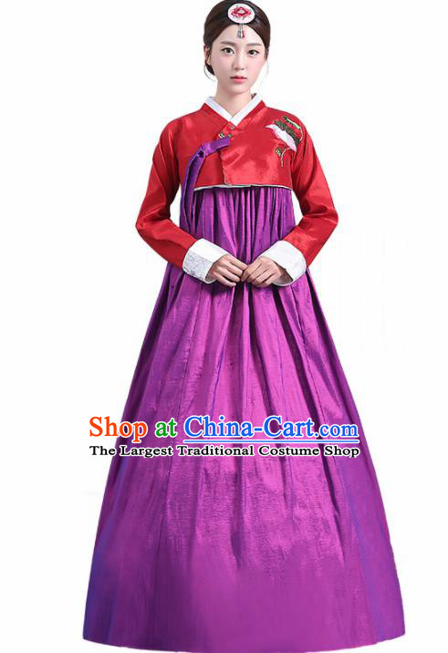 Traditional Korean Costumes Asian Korean Palace Hanbok Red Blouse and Purple Skirt for Women