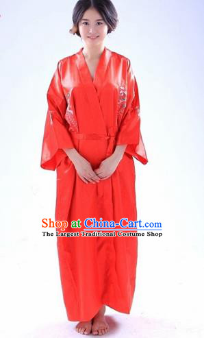 Traditional Japanese Costumes Asian Japan Kimono Red Silk Yukata for Women