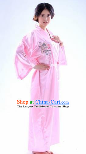 Traditional Japanese Costumes Asian Japan Kimono Pink Silk Yukata for Women