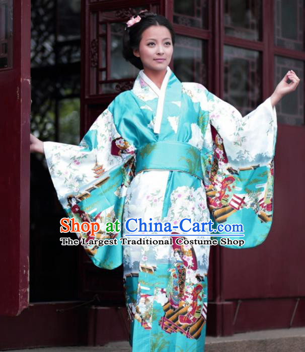 Traditional Japanese Costumes Asian Japan Kimono Printing Green Furisode Yukata for Women