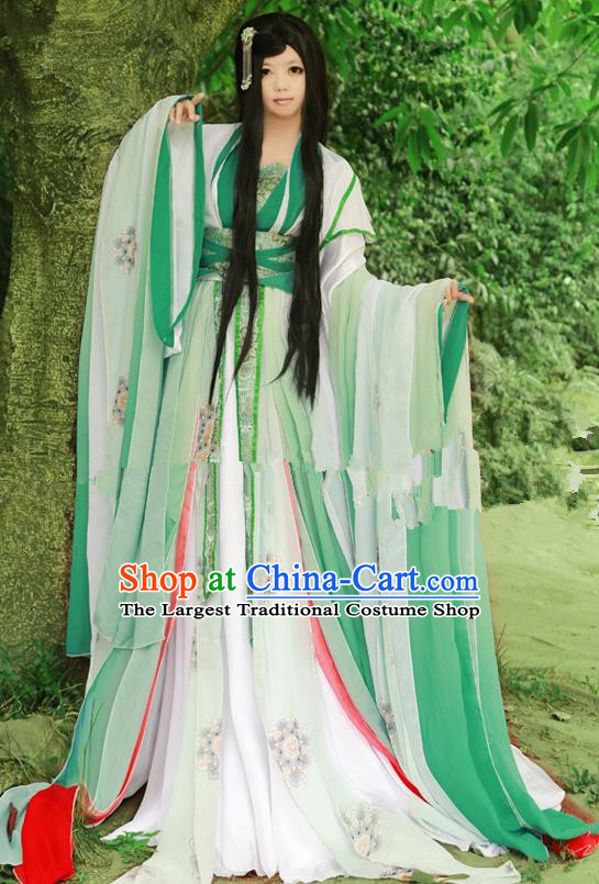 Chinese Ancient Cosplay Princess Green Hanfu Dress Traditional Tang Dynasty Swordswoman Costume for Women