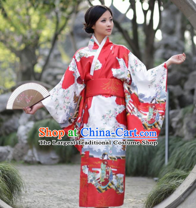 Traditional Japanese Costumes Asian Japan Kimono Printing Red Furisode Yukata for Women