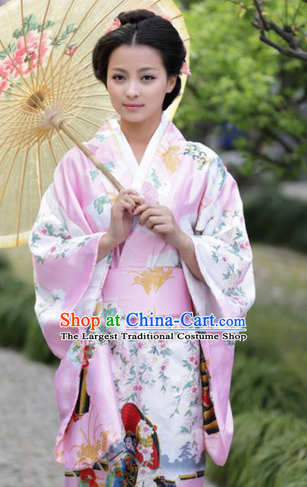 Traditional Japanese Costumes Asian Japan Kimono Printing Pink Furisode Yukata for Women