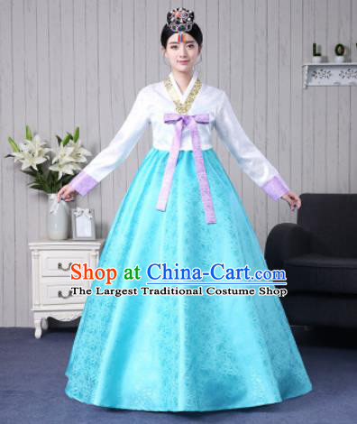 Traditional Korean Palace Costumes Asian Korean Hanbok Bride White Blouse and Blue Skirt for Women