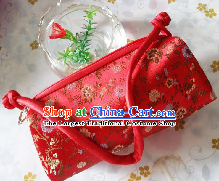 Traditional Chinese Brocade Bag Red Silk Handbag for Women