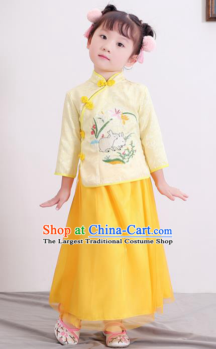 Chinese Ancient Republic of China Children Costumes Traditional Yellow Blouse and Skirt for Kids