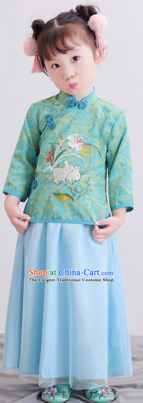 Chinese Ancient Republic of China Children Costumes Traditional Green Blouse and Skirt for Kids