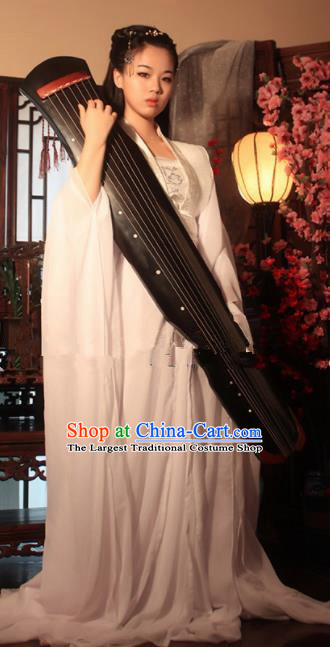 Chinese Ancient Cosplay Peri Goddess White Hanfu Dress Traditional Tang Dynasty Imperial Consort Costume for Women