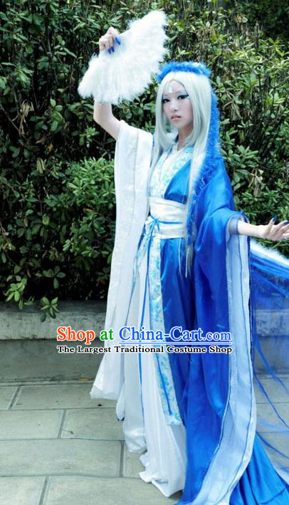 Chinese Ancient Cosplay Peri Swordsman Blue Hanfu Dress Traditional Han Dynasty Imperial Consort Costume for Women