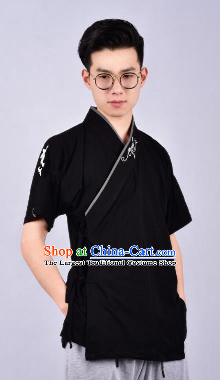 Chinese Ancient Swordsman Hanfu Costume Tang Suit Black Shirt for Men