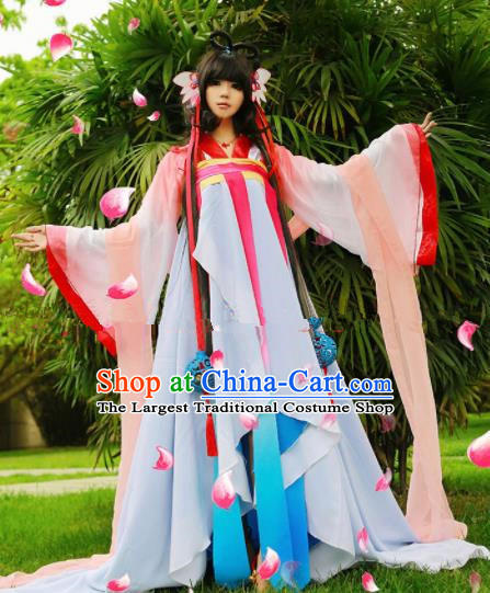 Chinese Ancient Cosplay Peri Goddess Hanfu Dress Traditional Tang Dynasty Princess Costume for Women